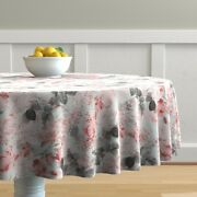 Round Tablecloth Romantic Floral Pink And Vintage Floral Botanical Cotton Sateen