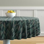 Round Tablecloth Vintage Green Dot Palm Tropical Cotton Sateen