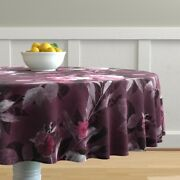Round Tablecloth Retro Chintz Seventies Vintage Look Painted Cotton Sateen