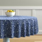 Round Tablecloth Vintage Blue Leaves Foliage Royal Blue Arts And Cotton Sateen