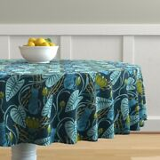 Round Tablecloth Botanical Cats Nature Art Retro Vintage Water Cotton Sateen