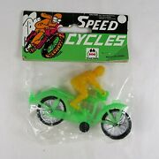 Vintage Speed Cycles Green And Yellow Plastic Motorcycle Racing Toy Nos Sealed