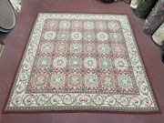 9x9 Square Rug New Hand Knotted Aubusson Needlepoint Carpet Blush Red English