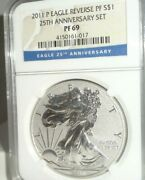 2011 P Us 1 Reverse Proof American Silver Eagle Ngc Pf 69 25th Anniversary Set