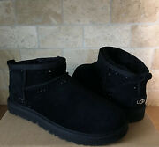 Ugg Classic Ultra Mini Black Bling Suede Sheepskin Ankle Boots Size Us 7 Women