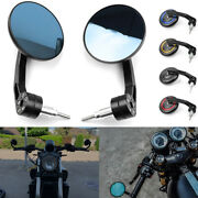 Round 7/8 Handlebar Motocycle Cafe Racer Rearview Mirrors End Side Mirrors