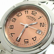 Hermes Clipper Large Ldy Cl6.410 Used Watch Minor Change Pk Dial Rare Ec