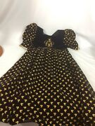 Beautiful Vtg Disney Micky Mouse Gold Black Baby Doll Dress Size 10 Made In Usa