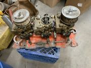 Sbc 3x2 Tri Power Offenhauser Intake With Rochester Carburetors Free Shipping