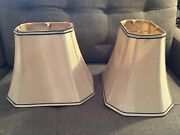 Two Octagonal Rectangle Soft Gold Silk Table Lamp Shades W/ Brown Edging