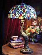 Victorian Trading New Peacock Lamp Stained Glass Shade 73a