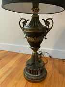 A Pair Of Vintage Black Table Lamps With Gilt Ornate, With Black Silk Shades