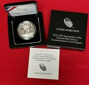 2016 100th Anniversary National Park Service Proof Silver Dollar Box And Coa