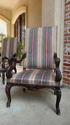 Large Antique French Carved Walnut Fireside Arm Chair Louis Xv Style