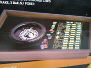 Real Wood Casino Roulette Wheel Black Jack Table Top Game Set New Sealed