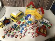 Peppa Pig Toy Lot 32 Figures House Helicopter Furniture Camper Plane Car And More