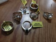 Beautiful Lot Of 7 Sterling Silver And Stone Rings Brand New. Assorted Sizes.