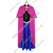 Frozen Cosplay The Snow Queen Anna Princess Costume Daily Dress Full Set Party