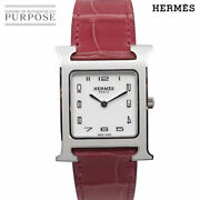 Hermes H Watch Hh1 520 Used Watch Boys Wh Dial Qz Mint Condition
