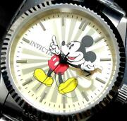 X Disney 22769 Menand039s Analog Watch Mickey Mouse Silver Belt Gold Face