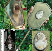 1 Antique Cameo Hand Mirror Victorian Large Brass Open Leaves Vines Carved Shell