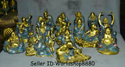 8 Old Chinese Cloisonne Enamel Copper 18 Arhat Luohan Rohan Buddha Statue Set