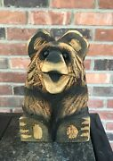 Chainsaw Art 9andrdquo Tall Happy Wooden Bear/glass Eyes-ex Cond.