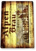 Alpen Brau Beer Tin Sign Brewing St Louis Brewery Columbia Falstaff Prohibition