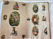 Antique Victorian Small Two Pages / Four Sides Scraps For Scrapbook