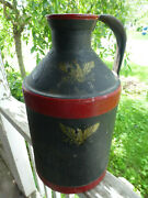 Early 20th C 1932 Vtg H. P. Hood And Sons Metal Handled Milk Can Jug Black Eagles