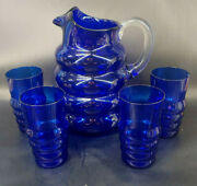 Louie Glass Co. Harpo Cobalt Blue Depression Glass Pitcher And 5 Tumblers Mcm Mabj