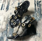 Black And Gold Wedges - Size 7