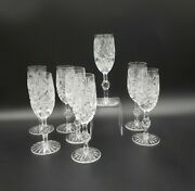 Set 8 Heavy Crystal Cut Stars Fans Small Wine/sherry Glasses Excellent Unk1760