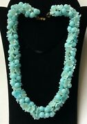 Vintage Miriam Haskell Garland Necklace Blue Glass Signed
