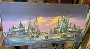 Vintage Colorful Landscape Painting Oil On German Canvas By Prin