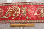 French Antique C1850-1860 Block Print Indienne Turkey Red Border Fabric46x12