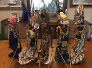 Five Vintage Hand Carved And Hand Painted Indonesian Wayang Golek Puppets