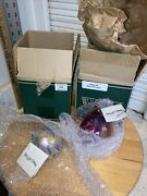 """3"""" Taffy Red Glass Eye Studio Hand Blown Ornament New W/tags In Box Or135 Or129"""