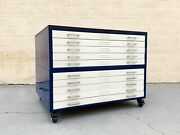 Vintage Flat File Double Stack Cabinet Reclaimed Wood Top Refinished To Order