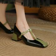 Womens Fashion Leather Two Tone Square Toe T Strap Mid Heel Mary Jane Shoes Kick