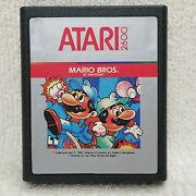 ⭐mario Bros Stripe Label Game Cartridge Atari 2600 And 7800 Contacts Cleaned⭐👀