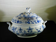 Antique Meissen Large Onion Pattern Oval Tureen W/sculpted Handles