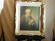 Antique Dutch Original Oil On Canvas Mother And Child Breast Feeding Artist Signed