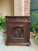 19th Century Antique French Carved Oak Confiturier Wine Cabinet Breton Brittany