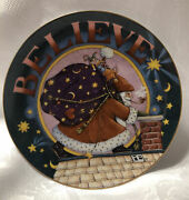 """Christmas Plate - Believe - 8"""" - Mary Engelbreit - Numbered - Danbury Mint - New"""