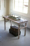 Antique White Washed Folding Recycled Wooden Tent Table
