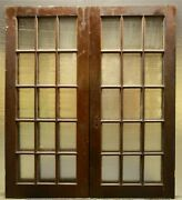65x77 Pair Antique Vintage Old French Double Interior Doors Window Glass Panes