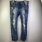 Machine Nouvelle Mode Womenand039s Blue Denim Distressed Jeans Size 17
