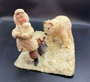 Ussr Christmas Tree Toy Ornament Vintage Decoration Cotton Bear Stealing Fish