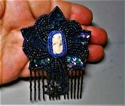 Antique Hand Carved Shell Cameo Brooch,hair Comb Carnival Glass Beads Blue Green